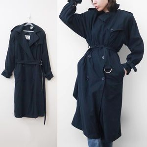 Vintage 80s Christian Dior Navy Trench Coat